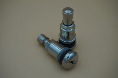 Metalen ventiel 11.5mm vernikkeld 42mm